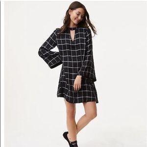 Loft Windowpane Grid Plus Size Bell Sleeve Dress